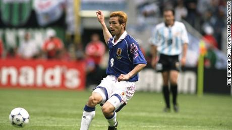Hidetoshi Nakata playing for Japan at the 1998 World Cup.