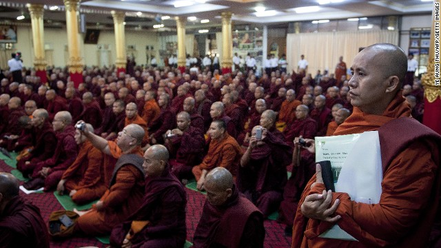 Buddhist monks attend a meeting at a Yangon monastery to discuss a law restricting interfaith marriage in June, 2013.