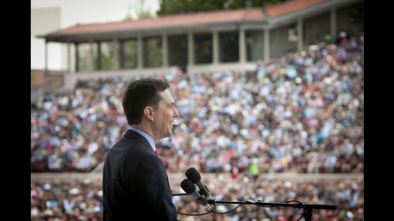 Comedian Ed Helms, shown earlier, addressed graduates at the University of Virginia in Charlottesville on May 15.