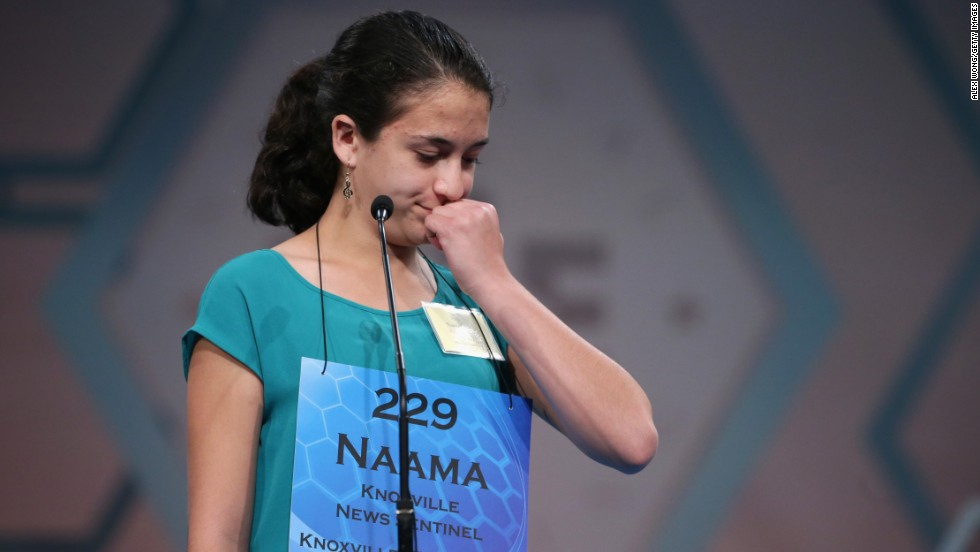 Naama Friedman, of Knoxville, Tennessee, participates in the spelling bee on May 28.
