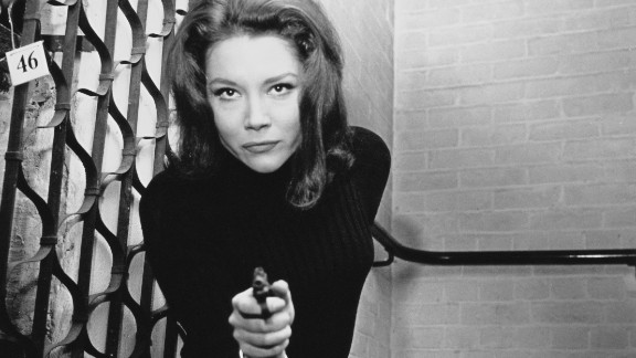 """English actress Diana Rigg plays the kickass spy Emma Peel in the '60s television series """"The Avengers."""""""
