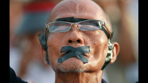A man participates in an anti-coup demonstration in Bangkok on Wednesday, May 28.