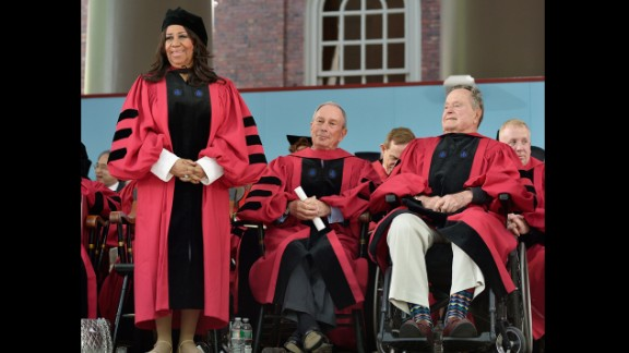 """Michael Bloomberg, center, gave <a href=""""http://www.cnn.com/2014/05/29/us/bloomberg-harvard-speech/index.html"""">the commencement speech at Harvard University on May 29, 2014</a>. Bloomberg, Aretha Franklin, left, and George H.W. Bush, right, also received honorary degrees. """"This spring, it has been disturbing to see a number of college commencement speakers withdraw -- or have their invitations rescinded -- after protests from students and -- to me, shockingly -- from senior faculty and administrators who should know better,"""" the businessman and former mayor of New York City said during his speech.<br />"""
