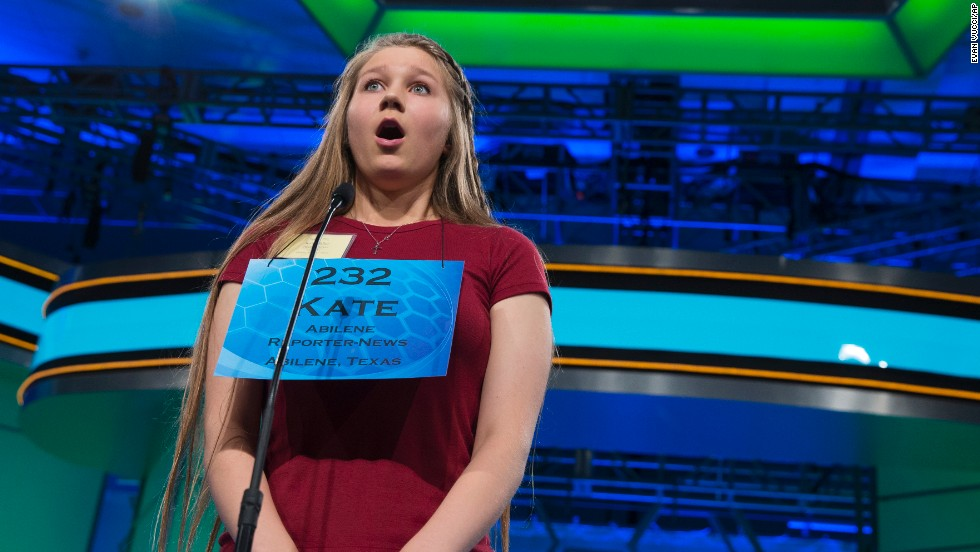 "Kate Miller, of Abilene, Texas, reacts after learning she spelled the word ""brachypterous"" correctly on May 29."