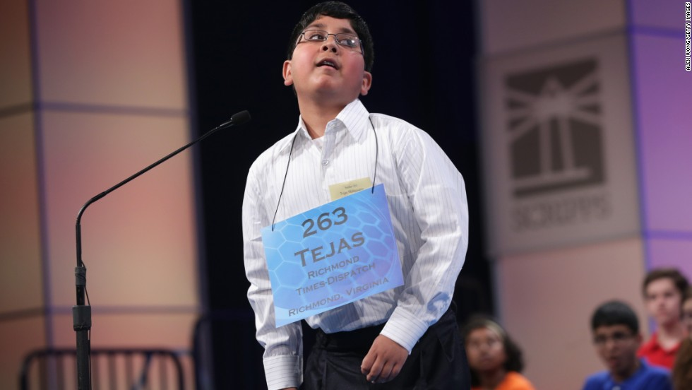 Tejas Muthusamy, of Glen Allen, Virginia, reacts after he correctly spelled a word on May 29.