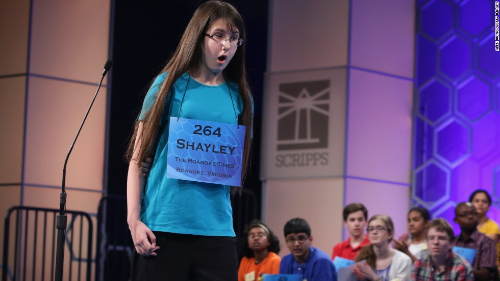 Shayley Grace Martin, of Riner, Virginia, reacts after she correctly spelled a word on May 29.