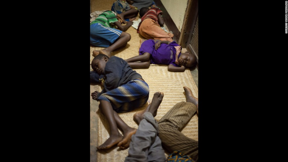 Non-Muslim children from Bambari spend the night in the bishopric building after fleeing May 22, the first day of clashes there.