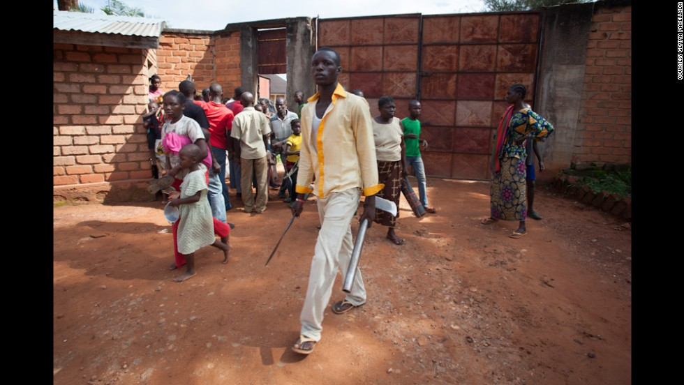 Some of those who ran to the bishopric building brought clubs, axes and machetes with them. After a few hours, church personnel asked for people to be searched as they entered the area. Sectarian violence has killed thousands of people in the country since the March 2013 coup. The Seleka rebels have since been forced from power, but Christian and Muslim militias have continued to clash despite the presence of French and African peacekeepers in the country.