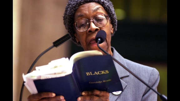 """Gwendolyn Brooks was named Illinois Poet Laureate and was the first African-American to be awarded a Pulitzer Prize. Her poems, many of which lyricized the plight of the urban poor such as """"We Real Cool,"""" won her a multigenerational following. She also wrote a novel, """"Maud Martha."""" Brooks died in 2000."""