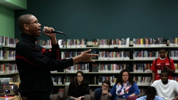 The YOUmedia center hosts a weekly open mic night for singers, poets and spoken word artists.