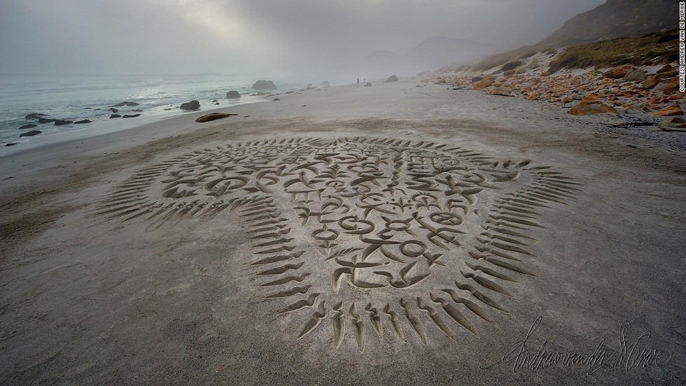 "A sand piece by Van der Merwe entitled ""African calligrapher, me"" carved on Witsands beach, Cape Town in January 2011. Explaining his thoughts behind the piece on his website, he writes: ""It is a self-portrait, the quill-wielding, running figure at the Southern tip of Africa being the way I see myself in happier moments. All those other fantastical, interlocking and interconnected letters and symbols -- many of which come from African writing systems -- represent the way I, as a white South African, see Africa with all it's incredible diversity and liveliness, but especially all those indigenous languages who's sounds and forms I so love but do not understand."""