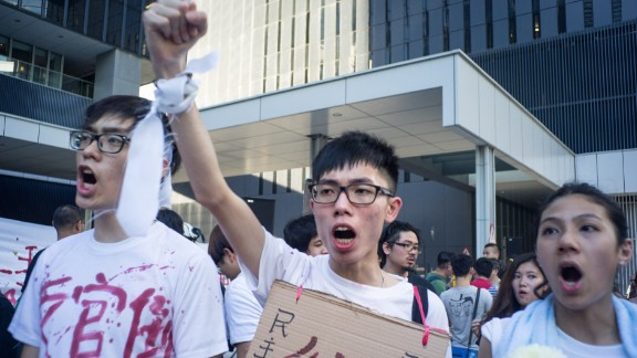 Protesters marched to Hong Kong