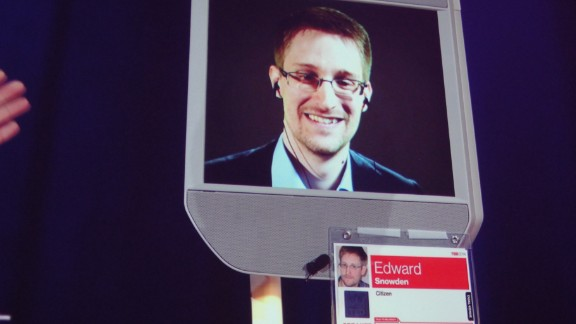 Former NSA contractor Edward Snowden appears by remote-controlled robot at a TED conference in Vancouver on March 18.