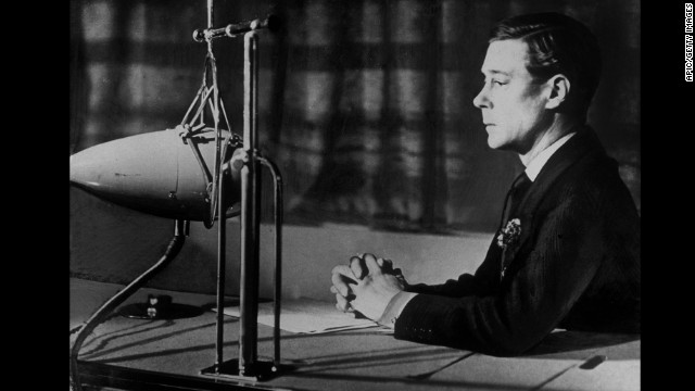 King of England Edward VIII during his speech at the radio announcing his abdication in december 1936 (he became duke of Windsor)