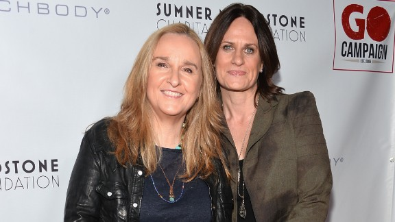 """Melissa Etheridge, left, and Linda Wallem married in May 2014 at San Ysidro Ranch in Montecito, California. The singer tweeted """"True love...so blessed."""