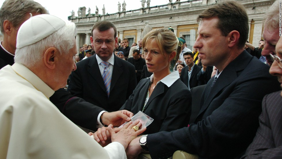 Gerry and Kate McCann speak with Pope Benedict XVI in Saint Peter's Square in May 2007.