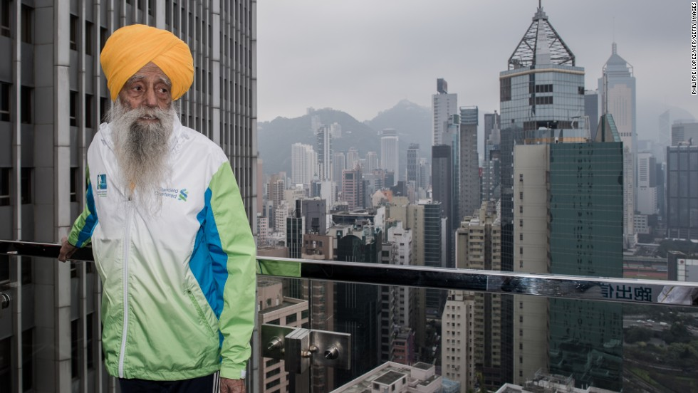 "<a href=""http://www.cnn.com/2013/05/09/sport/fauja-singh-marathon-oldest/index.html"">Fauja Singh is recognized</a> as the first 100-year-old to ever run a marathon. The great-grandfather, nicknamed the <a href=""https://www.facebook.com/Fauja-Singh-225889357609/"" target=""_blank"">""Turbaned Tornado</a>,"" continues to run or walk every day. Now 106, he took up running to overcome his grief after the death of his wife and a son. He ran his first marathon at age 89. The key to life: ""Laughter and happiness. That's your remedy for everything."""