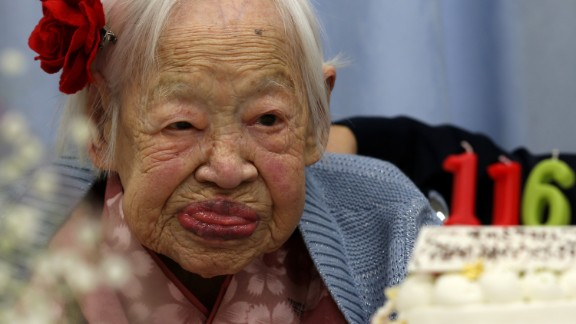 Misao Okawa of Osaka, Japan, was 117 when she died April 1, 2015. She was the world's oldest person at the time, according to Guinness World Records. She was born on March 5, 1898, and had three children. Her husband died in 1931. She kept in shape throughout much of her life, saying that helped her live so long; at 102, she said she did leg squats to keep healthy. She didn't start using a wheelchair until she turned 110.