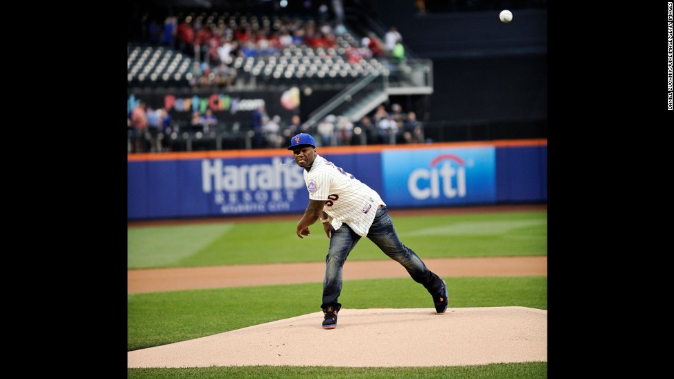 "Rapper 50 Cent <a href=""http://m.mlb.com/video/v33211751/pitnym-50-cent-goes-wide-left-with-first-pitch?partnerId=as_mlb_20140527_24789106"" target=""_blank"">throws out the first pitch</a> at New York's Citi Field before a Major League Baseball game between the New York Mets and the Pittsburgh Pirates on Tuesday, May 27. It didn't even come close to the plate, prompting some to call it the worst first pitch ever thrown."