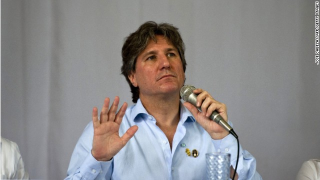 Argentinian Vice-President Amado Boudou speaks during a conference at the University of El Salvador in San Salvador, El Salvador on May 31, 2014 for a conference. Boudou is in San Salvador to attend the inauguration of new Salvadorean President, Salvador Sanchez Ceren.