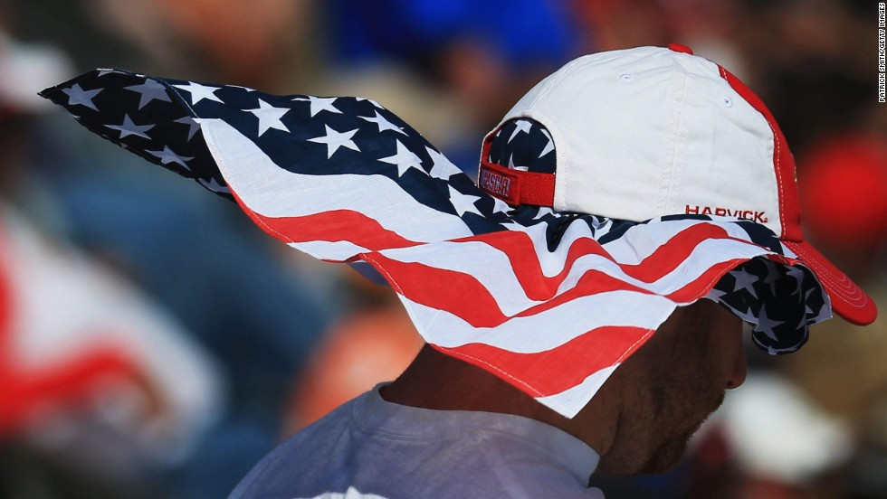 A patriotic NASCAR fan attends the Sprint Cup race at Dover International Speedway on Sunday, June 1.