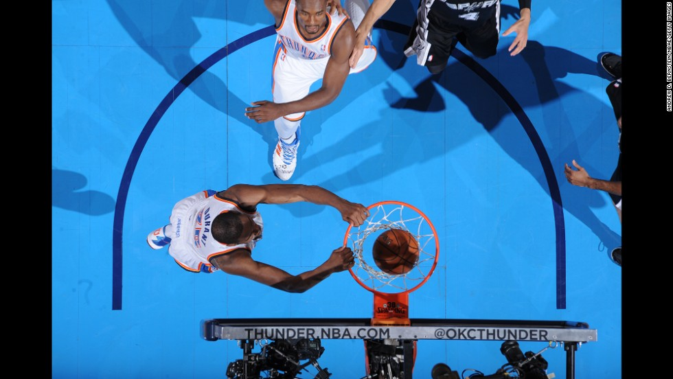 Kevin Durant of the Oklahoma City Thunder throws down a dunk during Game 4 of the NBA's Western Conference finals on Tuesday, May 27. The Thunder won the game but lost the series to the San Antonio Spurs, who will play in the NBA Finals for the second consecutive season.