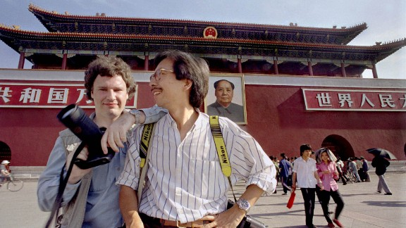 "Widener, left, poses with fellow photojournalist Liu Heung-Shing at Tiananmen Square in May 1989. ""This might be the final chapter for me,"" he said in 2014. ""I can"