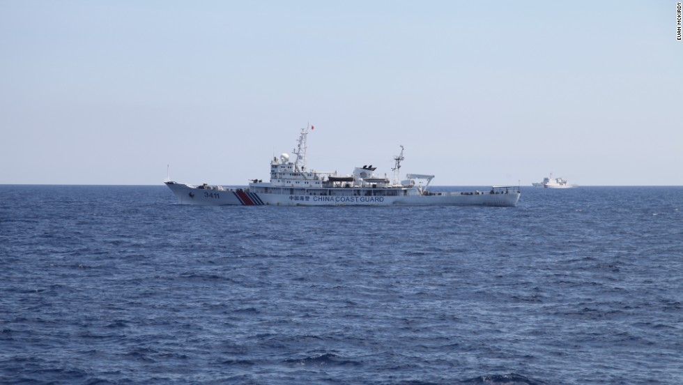 Chinese Coast Guard vessels seen from the Vietnamese ship.