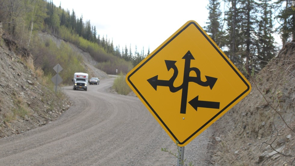 Witty signs keep drivers' focused on tricky Alaskan road