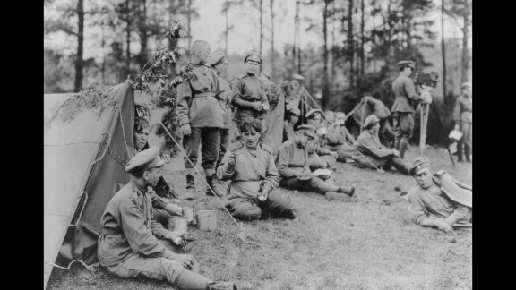 A Russian women's regiment from Petrograd (now St. Petersburg) relaxes in front of its tents. Women across the globe would serve directly on the battlefields, with many serving as nurses, ambulance drivers and cooks.