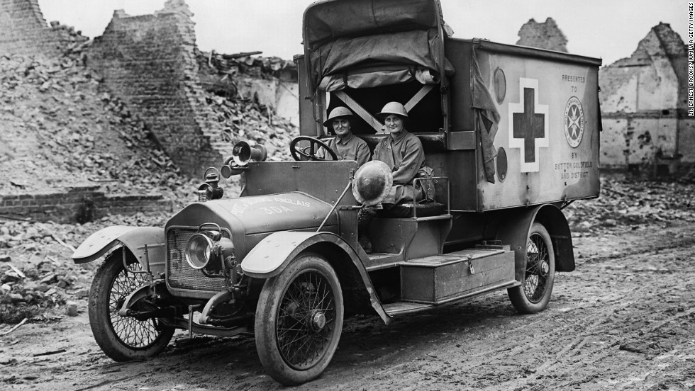 Mairi Chisholm and Elsie Knocker drive an ambulance in July 1917. The two British women ran a first-aid post in Belgium only 100 yards from the trenches.