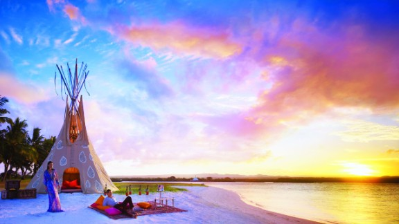 One&Only Le Saint Géran lives up to its name with its one-of-a-kind teepee created by British fashion designer Alice Temperley. The hand-sewn, jewel-encrusted tent is decked out with an antique chandelier and a treasure chest full of champagne.