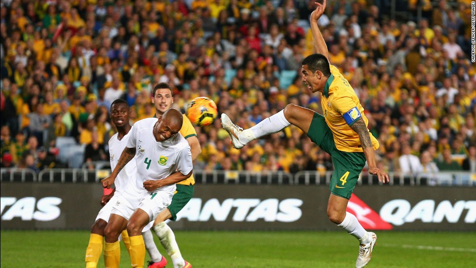 <strong>Tim Cahill (Australia):</strong> Cahill, right, is the Socceroos' all-time leading scorer and their oldest player. In 2012, he left Everton after eight seasons in the English Premier League, saying he hoped a move to the New York Red Bulls would prolong his international career. The good news for Australia is he's become more of a goal scorer since joining New York. The bad news? He's netted only one for New York this season.