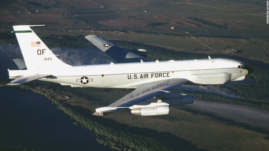 "An American RC-135U, similar to this one, was intercepted by a Russian fighter jet earlier this month while flying in international airspace north of Poland. The U.S. crew believed the Russian pilot's actions were ""unsafe and unprofessional due to the aggressive maneuvers it performed in close proximity to their aircraft and its high rate of speed,"" Pentagon spokesman Mark Wright said."