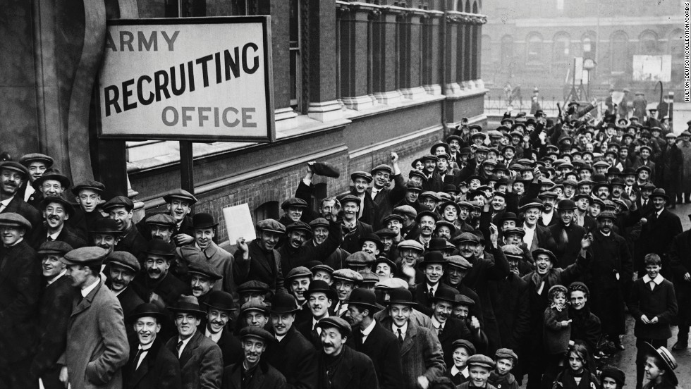 Britons stand in line outside an Army recruiting station.