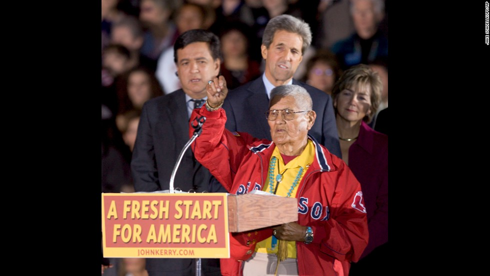 Nez addresses the crowd at an outdoor rally in Albuquerque before a speech by then-Democratic presidential candidate Sen. John Kerry in 2004.