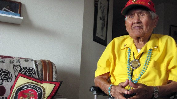 """Nez, seen at his home in 2009, told his story in his book, """"Code Talker."""" He said he decided to tell his story because he wanted to share the contributions and sacrifices of the Navajo during World War II."""