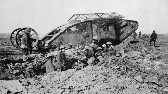 A British tank is stranded while crossing a trench during the Battle of the Somme on September 25, 1918.