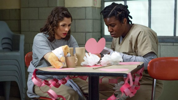 "Uzo Aduba (right, with Yael Stone) has been a standout on Netflix's ""Orange Is the New Black."" Her fellow nominees are Joanne Froggatt (""Downton Abbey""), Lena Headey (""Game of Thrones""), Emilia Clarke (""Game of Thrones""), Christina Hendricks (""Mad Men""), and Christine Baranski (""The Good Wife"")."