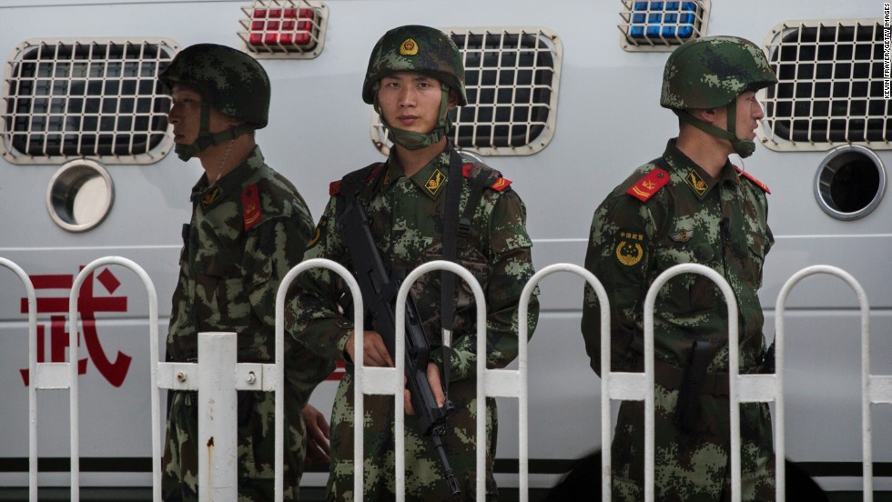 Chinese paramilitary police officers in uniform stood guard near Tiananmen Square on June 4. Beijing clamped down on any potential dissent ahead of the anniversary, detaining dozens of activists.