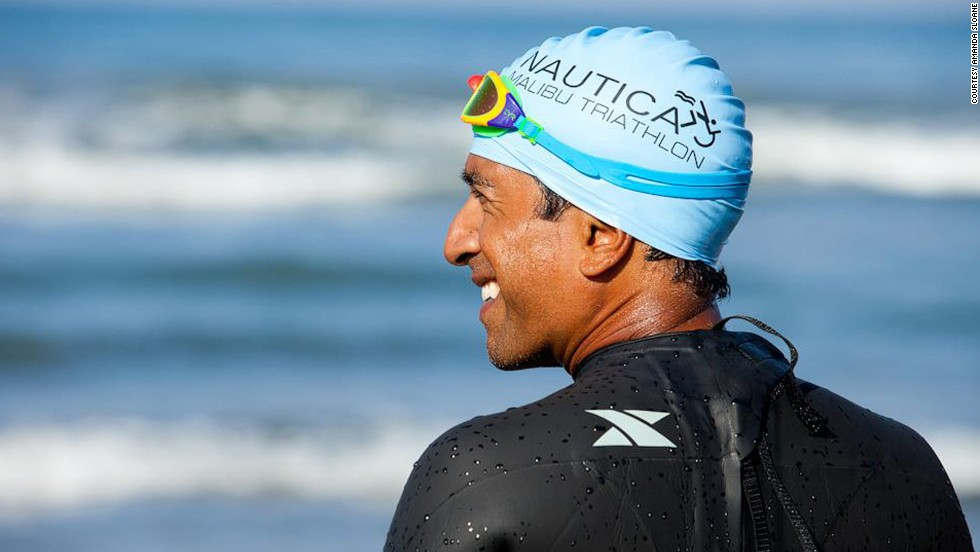 Dr. Sanjay Gupta completes an ocean swim with the Sassy Six.