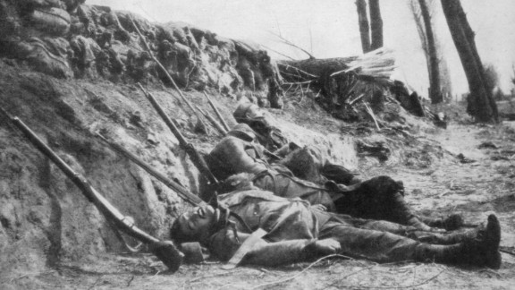 These French Zouave infantrymen were killed by gas during the Second Battle of Ypres, Belgium, in April 1915.