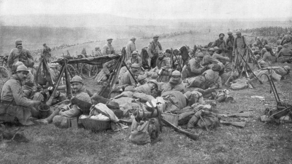 French troops rest in Verdun, France, in 1916. Verdun was the site of the longest battle of World War I.