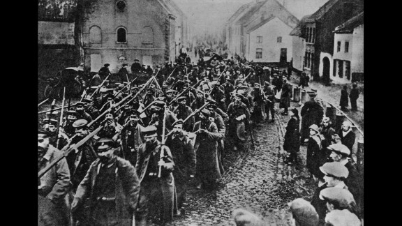 A defeated German army marches home on October 1, 1918.