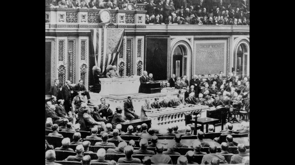 U.S. President Woodrow Wilson addresses a joint session of Congress in April 1917, requesting a declaration of war on Germany. The United States declared war against Germany after the interception and publication of the Zimmermann Telegram and the sinking of three U.S. merchant ships by German U-boats.