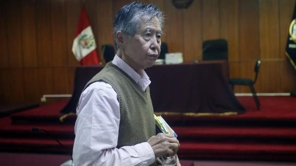 Former Peruvian President Alberto Fujimori appears in court in Lima in 2014.