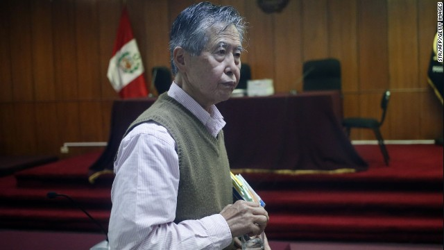 Former Peruvian president Alberto Fujimori, appears in court in Lima on June 6, 2014.