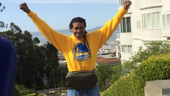 Her friends have been completely supportive during her journey; they've even drawn out walking maps for her. This photo was taken after she completed a 15,000 step walk that includes the steep steps at Coit Tower in San Francisco. She says she feels better than ever.