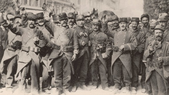 """French soldiers sing the national anthem at the beginning of World War I in August 1914. This """"war to end all wars"""" might seem like ancient history, but it changed the world forever. It transformed the way war was fought, upended cultures and home life and stimulated innovations that affect us today. With more than 30 combatant nations and nearly 70 million men mobilized, World War I profoundly destabilized the international order. Look back at some of the war"""