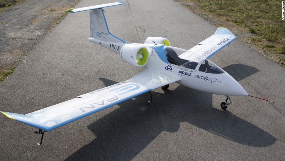 Airbus Group's E-Fan training aircraft has zero carbon dioxide emissions in flight and is cheaper to fly than conventional planes.